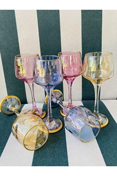 TURANLAR Renkli 6 Kişilik Kahve Yanı Su Bardağı Kadeh