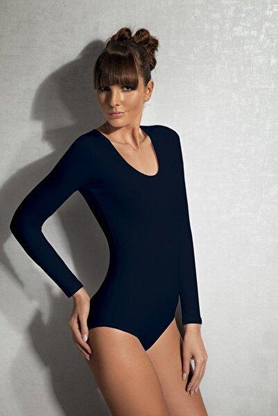 Doreanse Kadın Siyah Modal Geniş Yaka Uzun Kol Bodysuit 12401