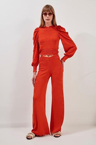 JOIN US Kadın Turuncu Çiçekli Astarlı Triko Pantolon 2020S077