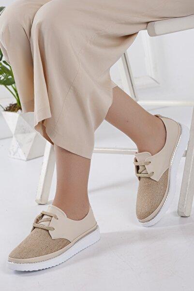 Odal Shoes Kadın Krem Hasır Casual Ayakkabı