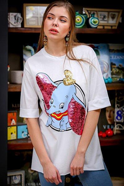 Chiccy Kadın Beyaz Çizgi Fil Baskılı Pul Detaylı Yanı Yırtmaçlı T-Tshirt M10010300TS98369
