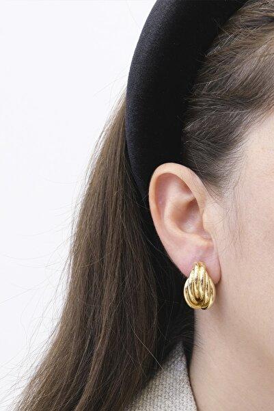 Marjin Kadın Retro Model Tasarım Altın Renkli Küpealtın