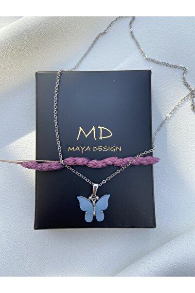 Maya Kadın Mavi Kelebek Kolye
