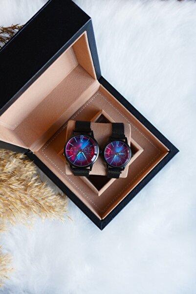 Spectrum Çift Kol Saati Siyah Hasır Kordon Renkli Cam Sevgili Kadın Erkek Kol Saati