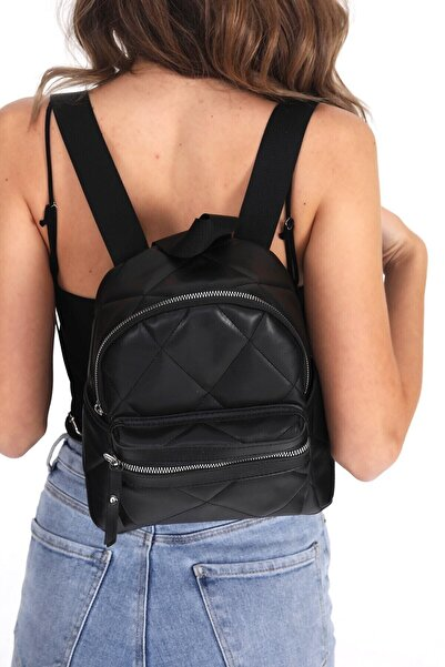 Top All BAG Kadın Siyah Kapitone Mini Sırt Çanta