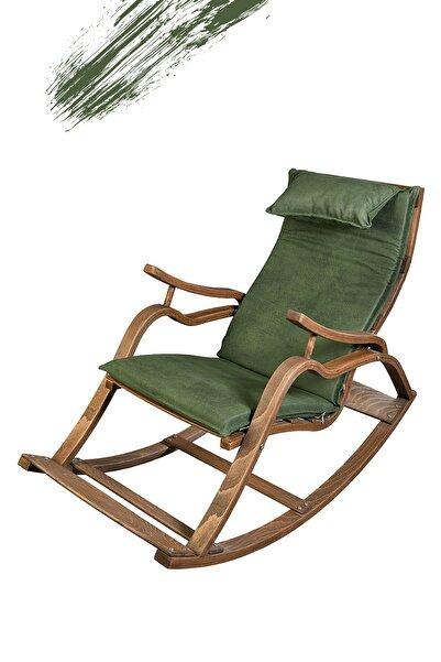 TOKKO Oslo Ahşap Formlu Sallanan Sandalye - Dinlenme Kitap Okuma Tv Koltuğu Yeşil