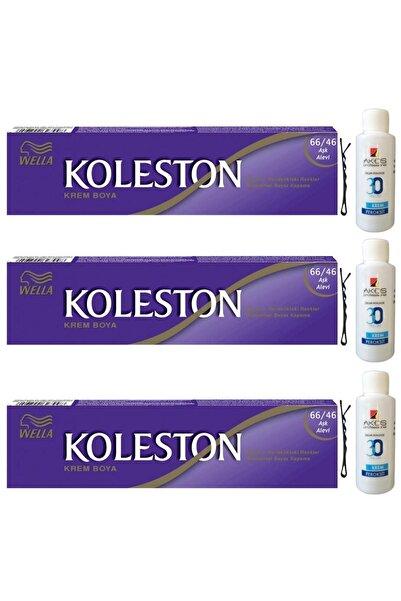 Koleston Tüp Saç Boyası Aşk Alevi 66/46 X 3 Adet + Akos 30 Volume Oksidan 3 Adet