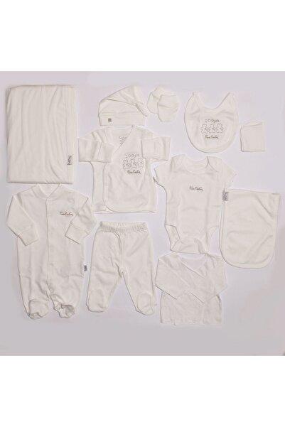 Pierre Cardin Unisex Bebek Ekru Lisanslı Organik 10 Parça Ayıcıklı Hastane Çıkış Seti