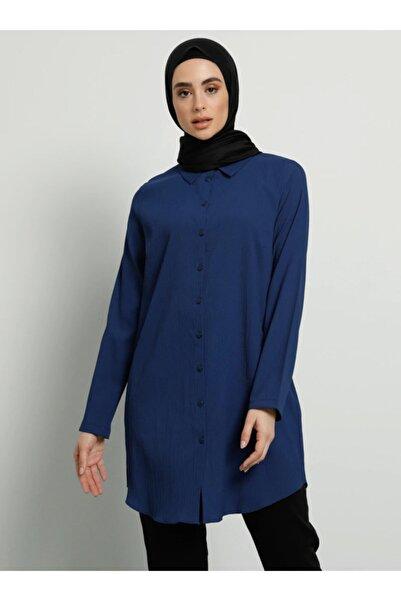 Tavin Kadın İndigo Düğmeli Gömlek Tunik