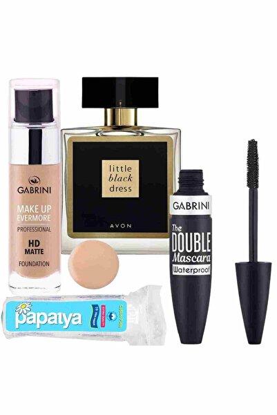 Gabrini Hd Matte Fondöten 01 + Double Maskara Waterproof + Little Black Dress Edp 50 ml Kadın Parfüm