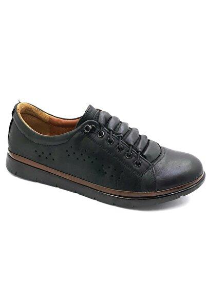 MP 211-4222 Zn Kadın Siyah Hakiki Deri Ayakkabı