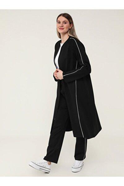 ALİA Büyük Beden Boydan Fermuarlı Sweatshirt&pantolon Ikili Spor Takım - Siyah Beyaz -