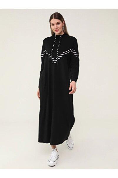 ALİA Kadın Beyaz Büyük Beden Doğal Kumaşlı Yakası Kuş Gözü Detaylı Elbise  1792741