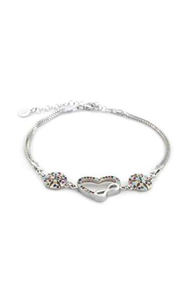 Tesbihane Kadın Gümüş Multicolor Zirkon Taşlı Sonsuzluk Kalp Tasarım Bileklik