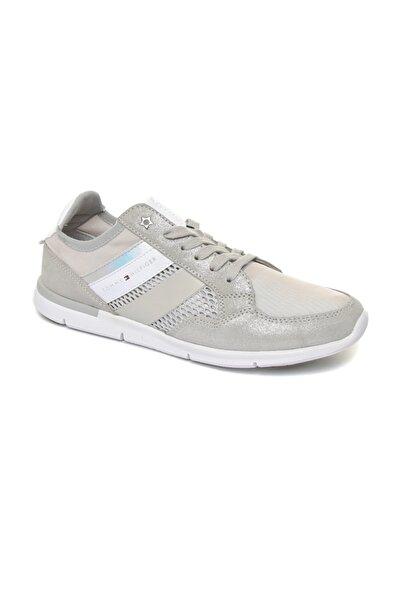 Tommy Hilfiger Gri Kadın  Fw0fw02996 001 Tommy Hılfıger Metallıc Lıght Weıght Sneaker Dıamond