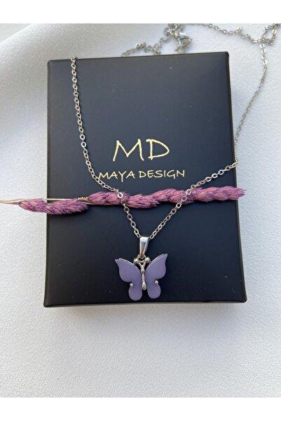 Maya Kadın Mor Kelebek Kolye