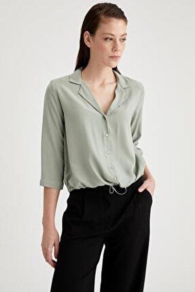 Ceket Yaka Beli Bağlamalı Relax Fit Viskon Gömlek