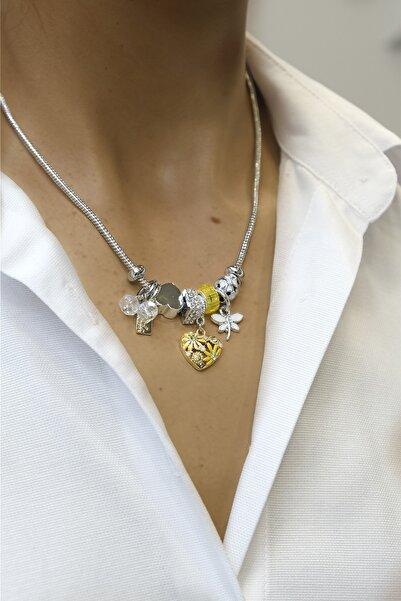 Marjin Kadın Sarı Taşlı Kalp Figürlü Gümüş Renkli Kolyesarı