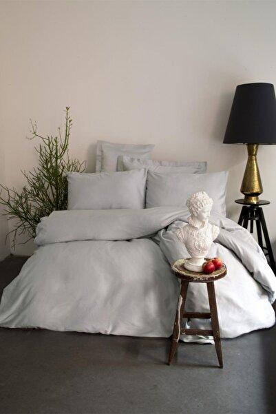 İssimo Home Simply Gri Çift Kişilik Pamuk Saten Fitted Çarşaf Seti (160x200)