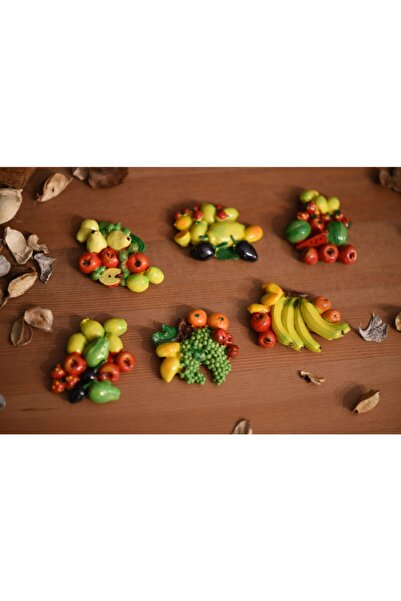studyosercan2 Buzdolabı Magneti Canlı Meyveler 6 Lı Set Halinde
