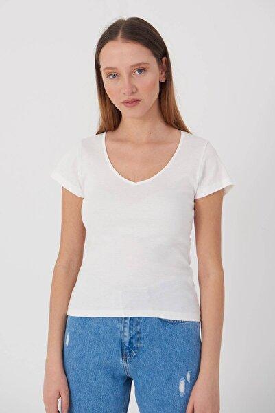 Addax V Yaka Basic T-shirt P0147 - X4