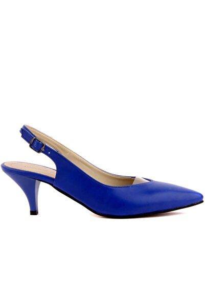 Nom Trend Kadın Saks Mavi Topuklu Ayakkabı