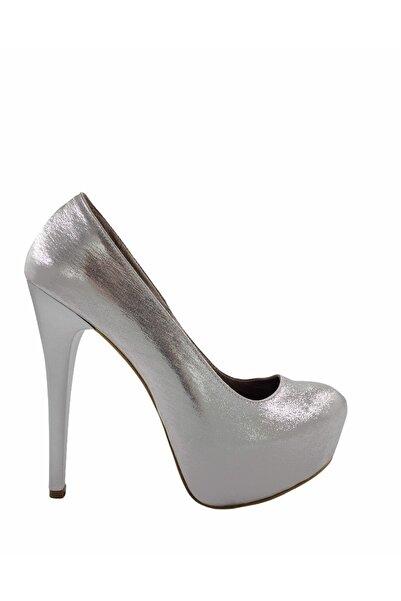 Gess Kadın Lame Gümüş Ince Topuk Platformlu Abiye Ayakkabı