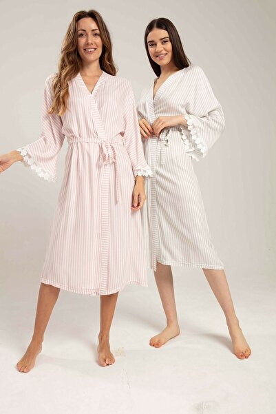 Bone Pijama Bone Keten Çizgili Kadın Sabahlık