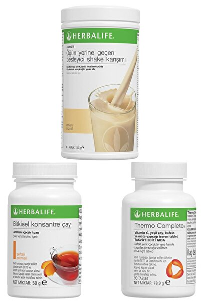 Herbalife Shake Vanilyalı, Thermo Complete, Şeftali Çay 50gr Birer Adet