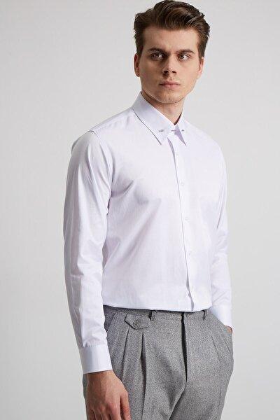 Fc Plus Erkek Beyaz Yaka Yuvarlak Uçlu Iğneli Pamuk  Slım Fıt Gömlek
