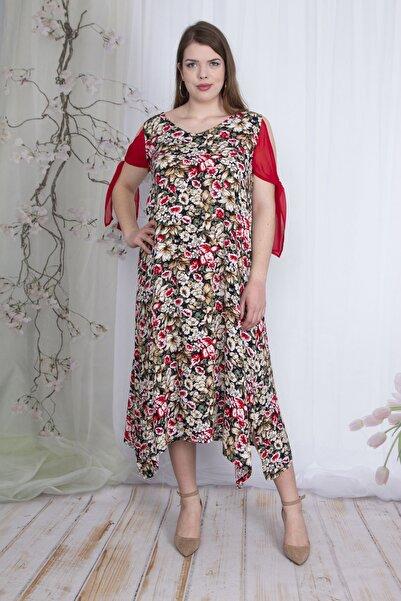 Şans Kadın Kırmızı Kol Detaylı Çiçek Desenli Elbise 65N23462