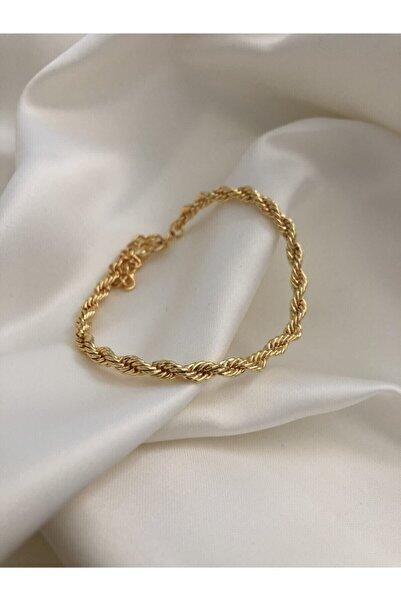 The Y Jewelry Kadın Altın Renk Burgu Zincir Bileklik