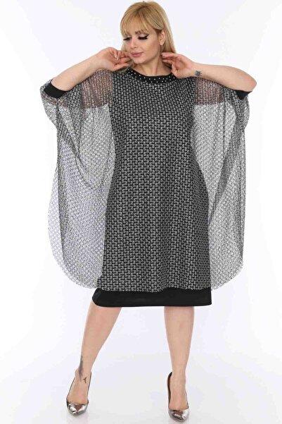 Moday Kadın Siyah Gümüş Abiye Elbise 7D-0493 7D-0493