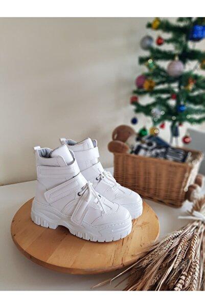no 5shoes Velcro Kadın Beyaz Cırtlı Ve Bağcıklı Bot