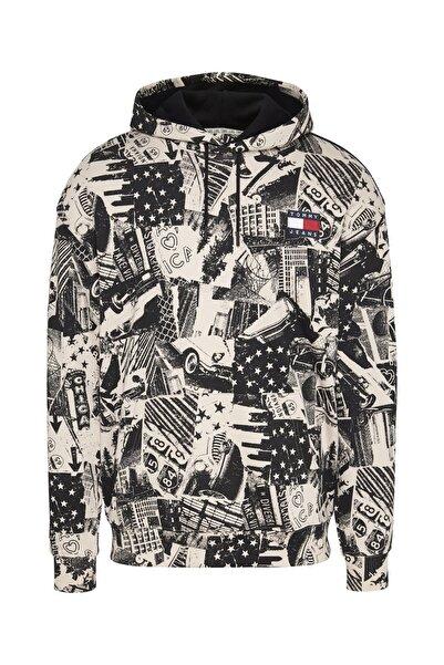 Tommy Hilfiger Erkek Tj Allover Print Badge Kapüşonlu Sweatshirt