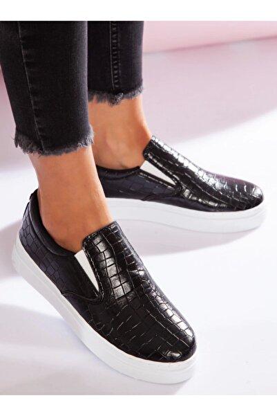 ayakkabıhavuzu Kadın Siyah Kroko Spor Ayakkabı