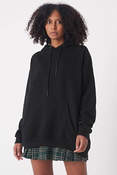 Addax Kadın Siyah Kapşonlu Sweat S8641 - S1 - S2 - Z1 ADX-0000020618