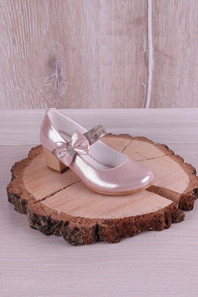 Kidya Kız Çocuk Pudra Taş İşlemeli Topuklu Ayakkabı
