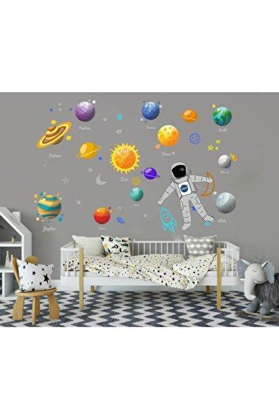 Walldeco Sarı Çocuk Odası Gezegenler Ve Astronot Sticker