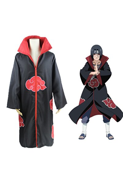 Köstebek Naruto Uchiha Itachi Cosplay Kostüm Pelerin Akatsuki Ninja Rüzgar Ceketi