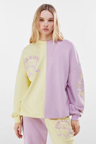 Bershka Kadın Mor Kontrast Candy Baskılı Sweatshirt
