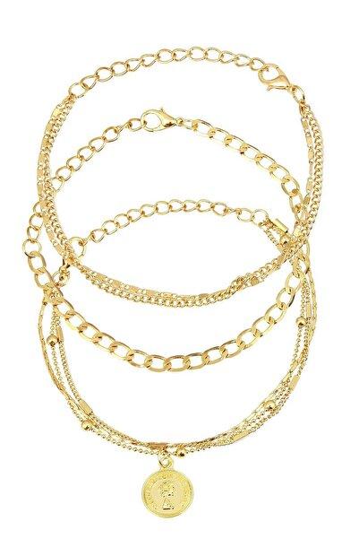 Coquet Accessories Kadın Altın rengi Üçlü Zincir Bileklik 19G1U08N342