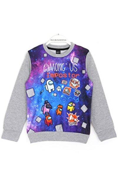 Erkek Çocuk Gri Oyun Karakterleri Baskılı Sweatshirt