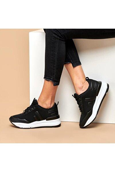 Butigo Z003-19k Siyah Kadın Kalın Taban Sneaker Spor Ayakkabı