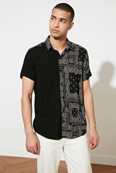 Siyah Erkek Regular Fit Viskon Parçalı Kısa Kol Gömlek TMNSS21GO0218