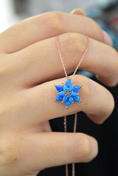 Papatya Silver 925 Ayar Gümüş Mavi Doğal Opal Taşlı Lotus Kolye