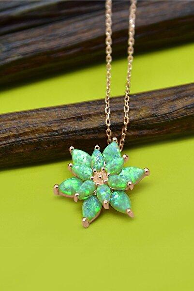 Papatya Silver 925 Ayar Gümüş Yeşil Doğal Opal Taşlı Lotus Kolye