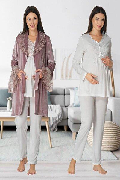 Effort Pijama Kadın Mürdüm Kadife Sabahlıklı Beyaz Lohusa Hamile Pijama Takımı 8088