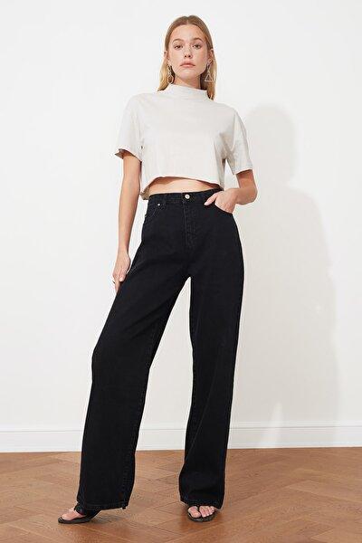 TRENDYOLMİLLA Siyah Yüksek Bel Wide Leg Jeans TWOAW21JE0099
