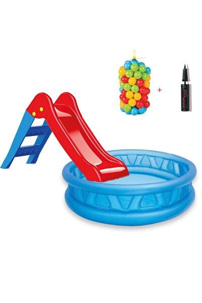 Intex Kaydıraklı Oyun Seti Kolezyum Havuz + 6 cm 100'lü Oyun Havuz Topu + Pompa